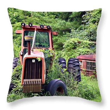 Farm Equipment Throw Pillow by Susan Leggett
