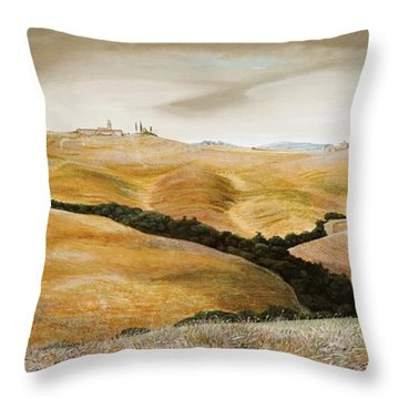 Farm On Hill - Tuscany Throw Pillow by Trevor Neal