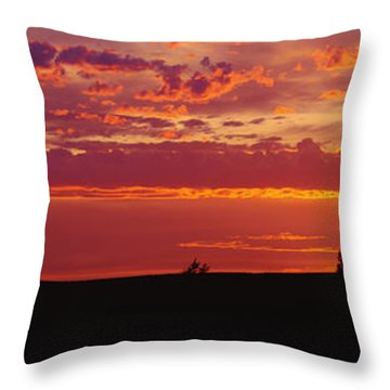 Farm Sunset Throw Pillow by Joe Sohm and ChromoSohm and Photo Researchers