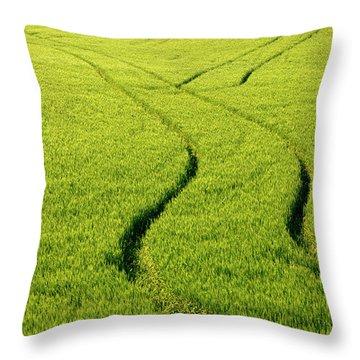 Farm Tracks Throw Pillow by Mike  Dawson