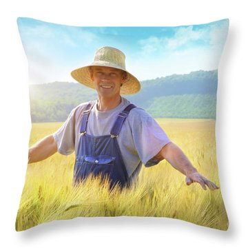 Farmer Checking Put His Crop Of Wheat Throw Pillow by Sandra Cunningham