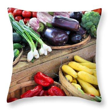 Farmers Market Summer Bounty Throw Pillow by Kristin Elmquist