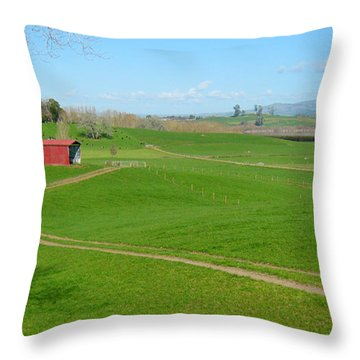 Farming Scene Throw Pillow by Les Cunliffe