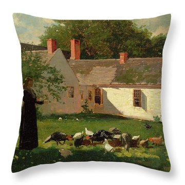Farmyard Scene Throw Pillow by Winslow Homer