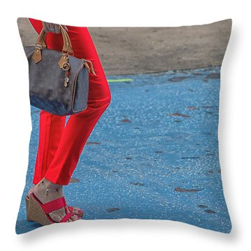 Fashionably Red Throw Pillow by Karol Livote