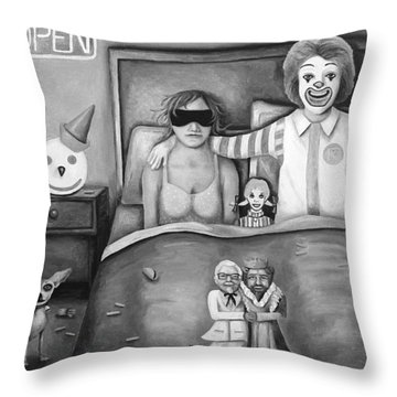 Fast Food Nightmare Bw Throw Pillow by Leah Saulnier The Painting Maniac