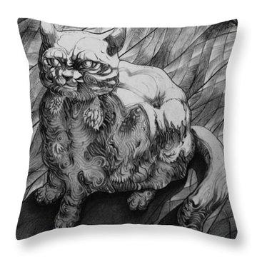 Fat Cat Fur Ball Throw Pillow