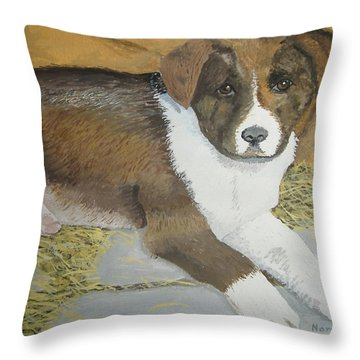 Throw Pillow featuring the painting Fat Puppy by Norm Starks