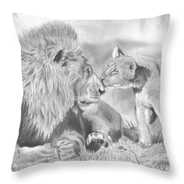 Father And Cub Throw Pillow