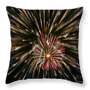 Throw Pillow featuring the photograph Feathers Of Fire by Myrna Bradshaw