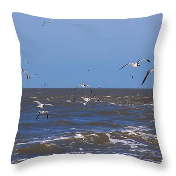 Feed Us - Ferry To Galveston Tx Throw Pillow by Susanne Van Hulst