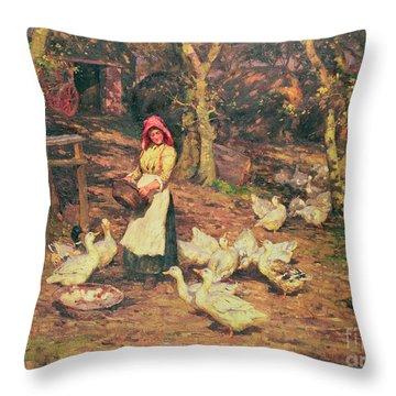 Feeding The Ducks Throw Pillow by Joseph Harold Swanwick