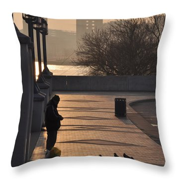 Feeding The Pigeons At Dawn Throw Pillow by Bill Cannon