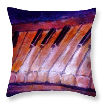 Feeling The Blues On Piano In Magenta Orange Red In D Major With Black And White Keys Of Music Throw Pillow
