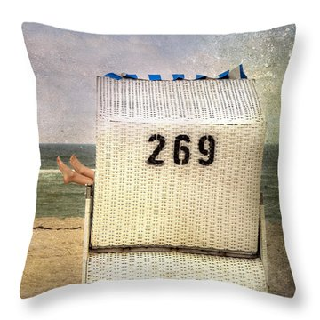 Feet And Beach Chair Throw Pillow by Joana Kruse