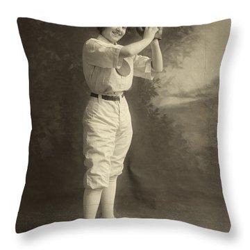 Female Baseball Player Throw Pillow by Granger