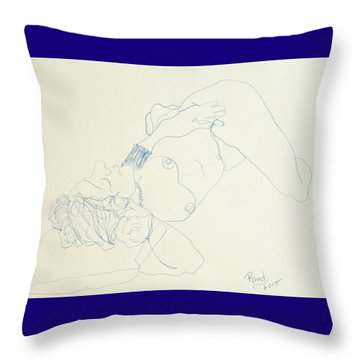 Female Nude In Blue Throw Pillow by Rand Swift