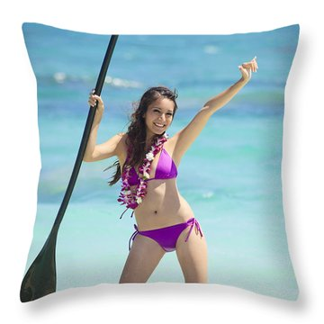 Female Stand Up Paddler Throw Pillow by Tomas del Amo