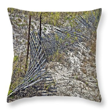 Throw Pillow featuring the photograph Fence And Boardwalk by Susan Leggett