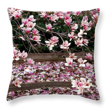 Throw Pillow featuring the photograph Fence Of Flowers by Elizabeth Winter