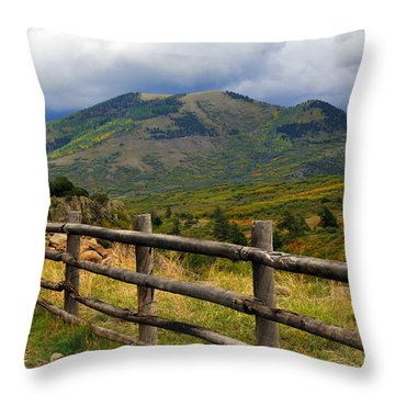 Fence Row And Mountains Throw Pillow by Marty Koch