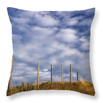 Fenceline In Pasture With Cumulus Throw Pillow by Darwin Wiggett
