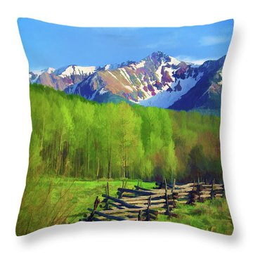 Fenceline Mountains Throw Pillow