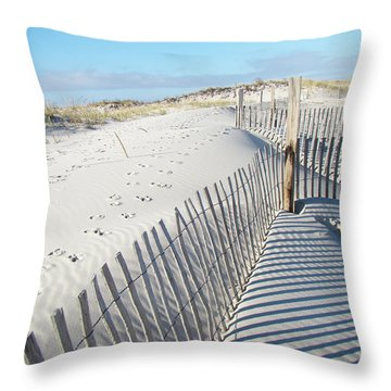 Fences Shadows And Sand Dunes Throw Pillow by Mother Nature
