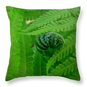 Ferns Fine Art Prints Green Forest Fern Throw Pillow by Baslee Troutman