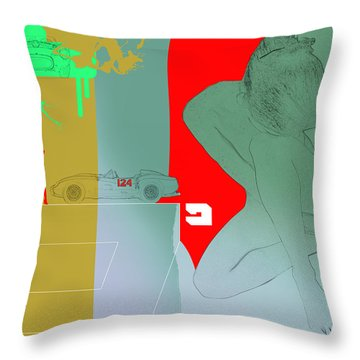 Ferrari And A Girl Throw Pillow
