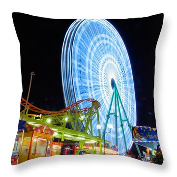 Ferris Wheel At Night Throw Pillow by Stelios Kleanthous