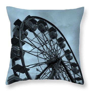 Throw Pillow featuring the photograph Ferris Wheel Blue Sky by Ramona Johnston