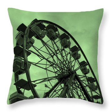 Throw Pillow featuring the photograph Ferris Wheel Green Sky by Ramona Johnston