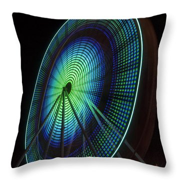 Ferris Wheel Lit Shades Of Green And Blue Throw Pillow