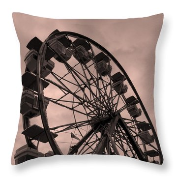 Throw Pillow featuring the photograph Ferris Wheel Pink Sky by Ramona Johnston
