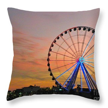 Throw Pillow featuring the photograph Ferris Wheel Sunset 2 by Eve Spring