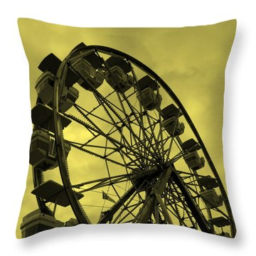 Throw Pillow featuring the photograph Ferris Wheel Yellow Sky by Ramona Johnston