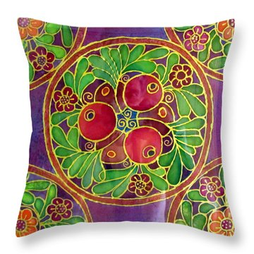 Festive Pomegranates In Gold And Vivid Colors Wall Decor In Red Green Purple Branch Leaves Flowers Throw Pillow