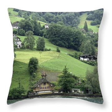 Few Houses On The Slope Of Mountain Next To Lake Lucerne Throw Pillow by Ashish Agarwal