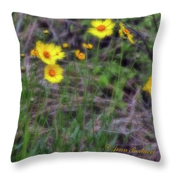 Throw Pillow featuring the photograph Field Flowers by Joan Bertucci
