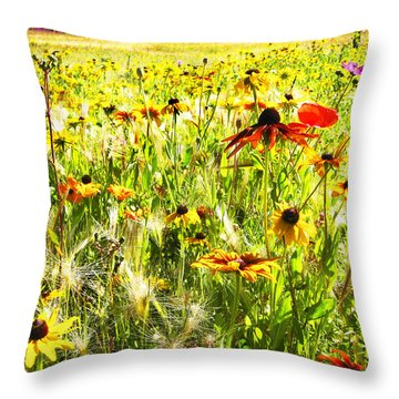 Field Of Bright Colorful Wildflowers Throw Pillow