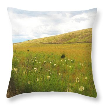 Field Of Dandelions Throw Pillow