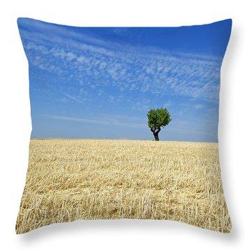 Field Of Wheat In Provence Throw Pillow by Bernard Jaubert