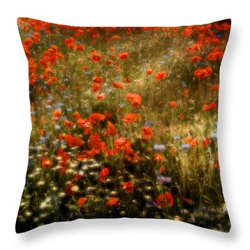Field Of Wildflowers Throw Pillow by Ellen Heaverlo
