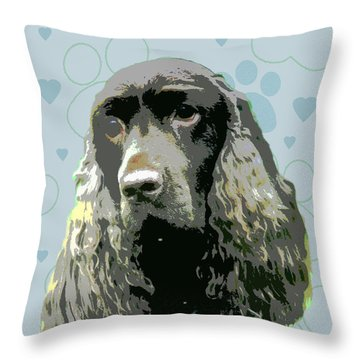 Field Spaniel Throw Pillow by One Rude Dawg Orcutt