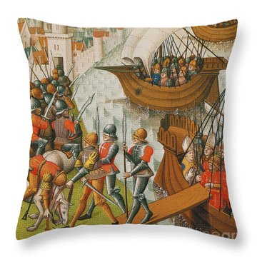 Fifth Crusade Siege Of Damietta 1218 Throw Pillow by Photo Researchers