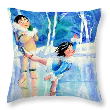 Figure Skater 15 Throw Pillow by Hanne Lore Koehler