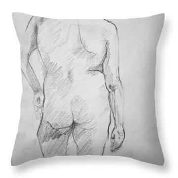 Throw Pillow featuring the drawing Figure Study by Rory Sagner