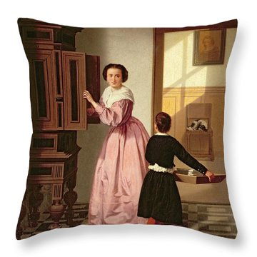 Figures In A Laundryroom Throw Pillow by Gustaaf Antoon Francois Heyligers