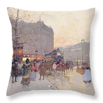 Figures In The Place De La Bastille Throw Pillow by Eugene Galien-Laloue